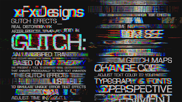 Glitch Text Effects Toolkit + 30 Title Animation Presets | Vaporwave