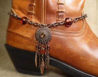 Copper Dreamcatcher Boot Bracelet Tribal Cow Bling