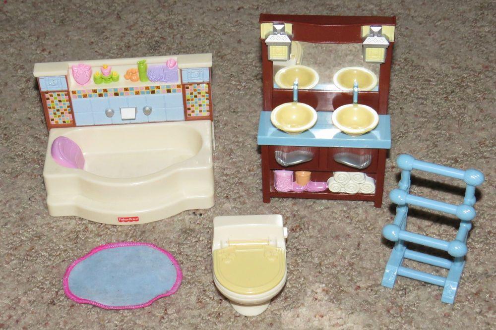Loving Family Dollhouse Bathroom Set Toilet Tub Vanity Towel Rack Fisher Price Fisherprice Lovingfamilydollhouse