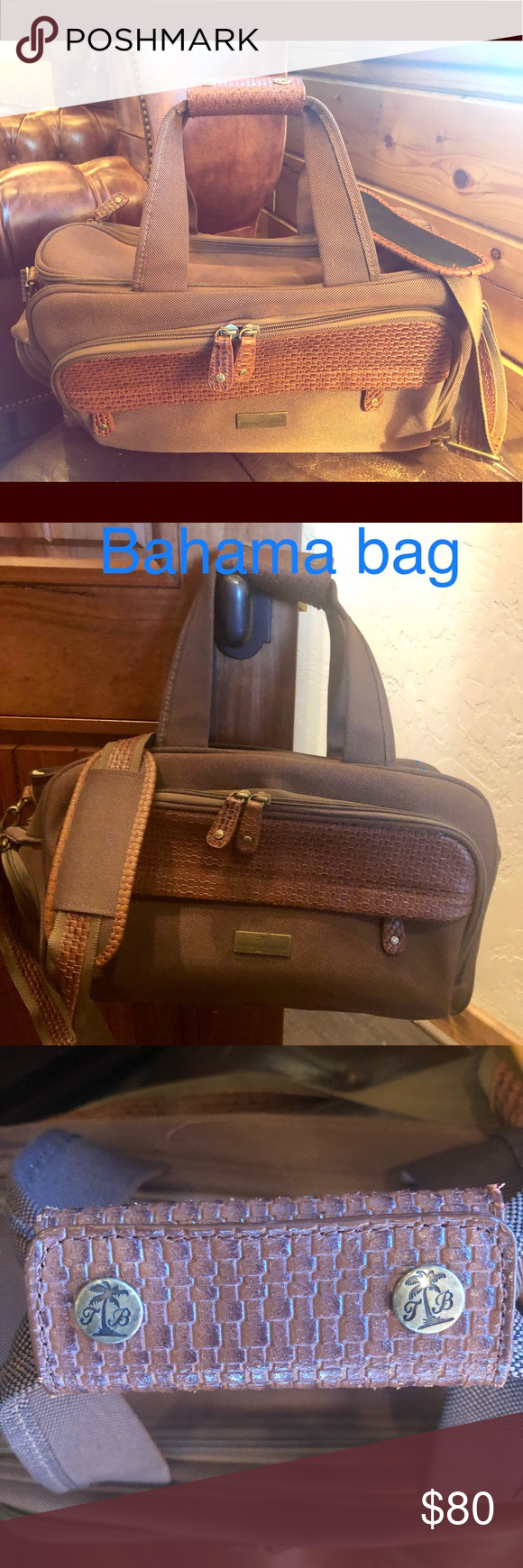 de5bc196e8e8 New Tommy Bahama Overnight Bag Very Classy bag with T.B. Print throughout  the inside