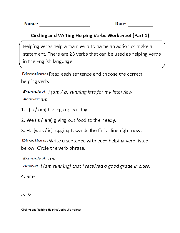 Circling and Writing Helping Verbs Worksheet | language arts | Verb ...