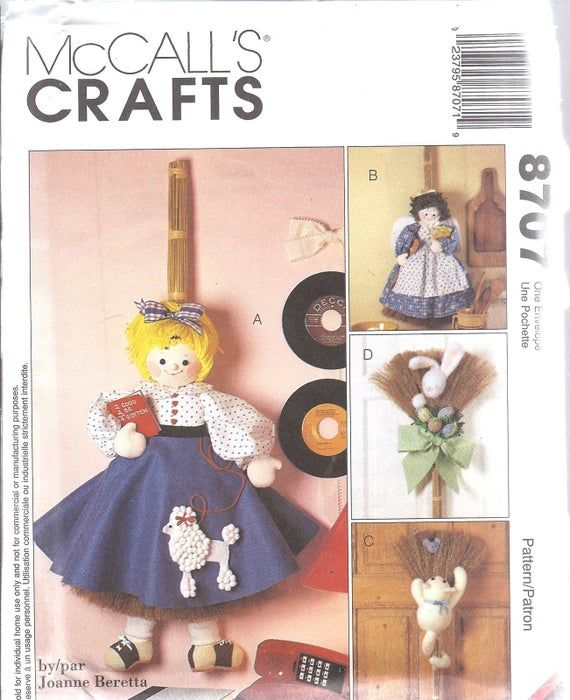 8707 UNCUT Sewing McCalls Craft Pattern 32 36 Broom Dolls + clothes oop sew ff