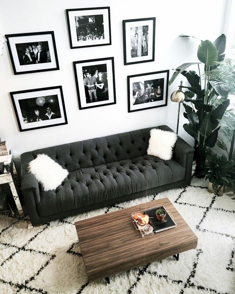 93+ Comfy Apartment Living Room in Black and White Style Ideas images