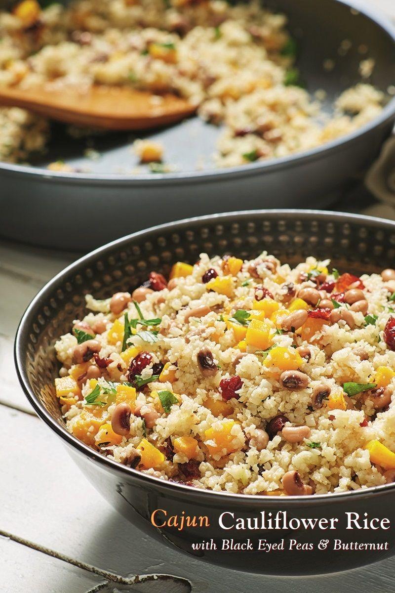 Cajun Cauliflower Rice With Black Eyed Peas Recipe Plant Based Recipe Pea Recipes Vegetable Side Dishes Recipes Cauliflower