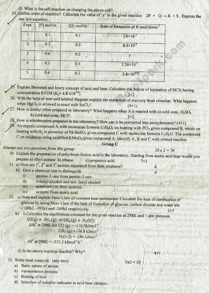 Chemistry Grade XII – Send Up Exam Question Paper 2014