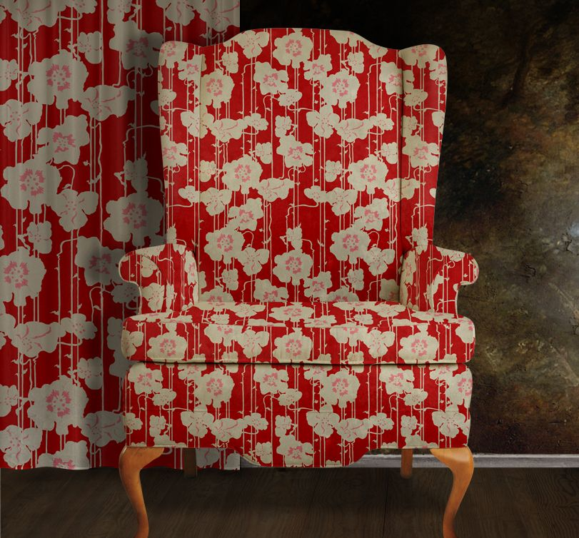 Art Nouveau Inspired California Poppy By Mason Larose: POPPY (cherry) Inspired By A Vintage Nouveau Print Depicts