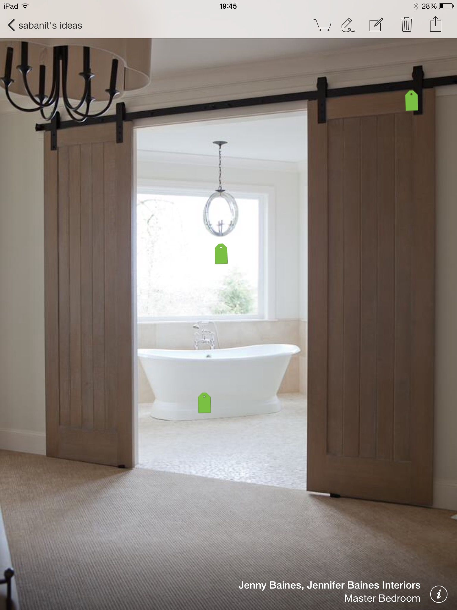 Sliding Barn Doors, Arteriors Rittenhouse Chandelier, Freestanding Tub And Mosaic