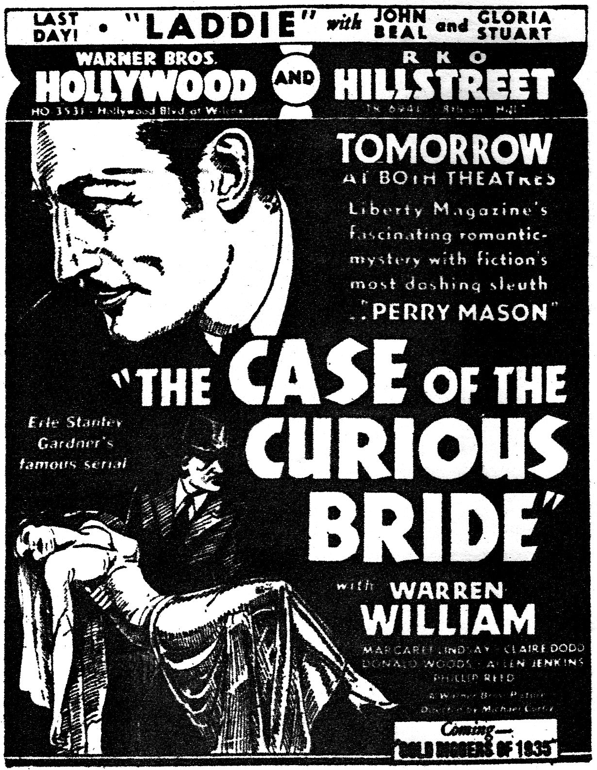 Warren William In The Case Of The Curious Bride 1935 Los Angeles Times April 10 1935 Classic Tv Silent Movie Talk To Me