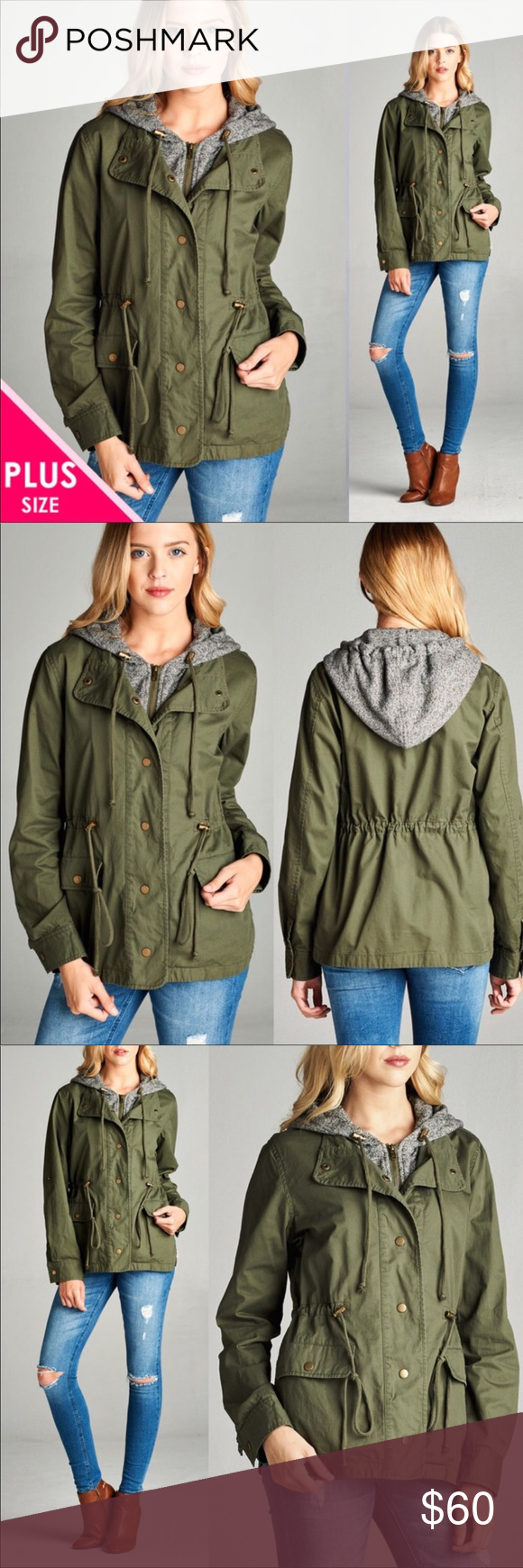 Plus size green double layer utility jacket boutique green