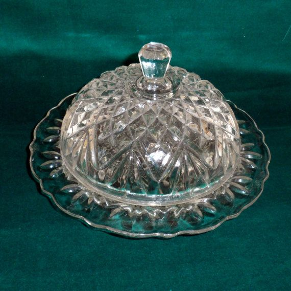 Dome Lidded Butterdish Vintage Large Round Clear Pressed Glass Butter Dish By Anchor Hocking Butter Server With Dome Li Vintage Large Vintage Pressed Glass