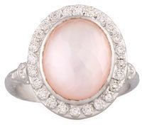 Armenta New World Rose Quartz & Mother-of-Pearl Doublet Ring with Diamonds, Size 6.5