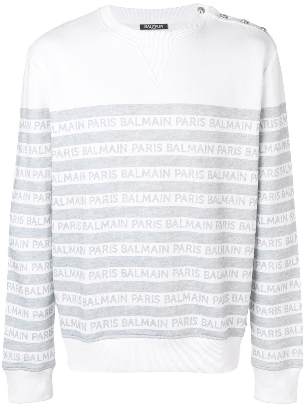 Balmain Striped Logo Sweatshirt Farfetch Sweatshirts White Sweatshirt Balmain [ 1334 x 1000 Pixel ]
