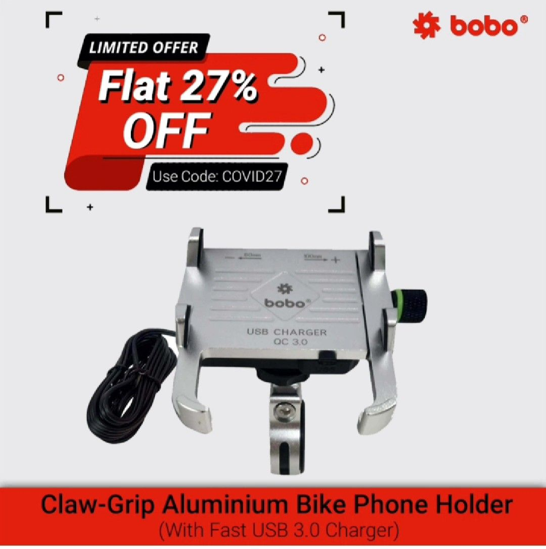 BOBO Claw-Grip Aluminum Waterproof Bike Phone Holder ( with fast USB 3.0  Charger ) ➖➖➖➖➖➖➖➖➖➖➖➖ Key Features ✔️ Claw-Grip security. ✔️ Always connected. ✔️ Always Secured. ✔️ All tolls and spare parts included. ✔️ We provide 6 months warranty. ✔️ Ideal for Maps and GPS Navigation. ➖➖➖➖➖➖➖➖➖➖➖➖ . . . . . #bikes #bikers #bikerider #riders #superbikes #biking #bikingendut #bikelife #bike #bikecare #bikeaccessories #biker #bikersfamily #bikepacking #bikelovers #loveforbike #tech #biketech #gears #g