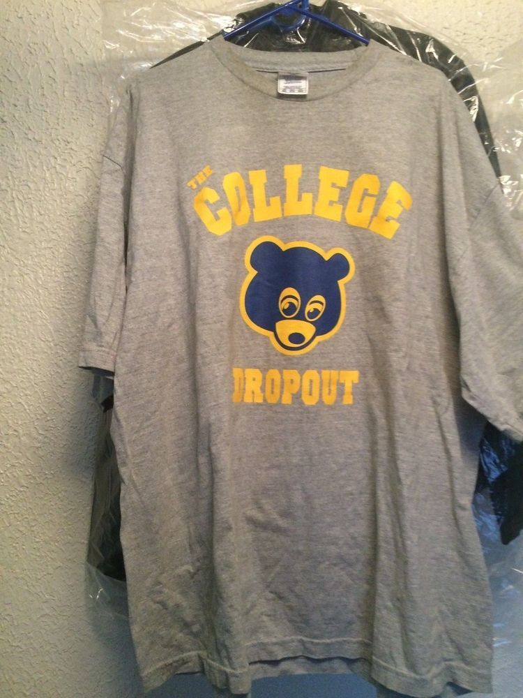 Kanye West College Dropout T Shirt Grey Blue Yellow Hip Hop Is Back Vintage 3xl Shirts Grey Shirts Kanye West