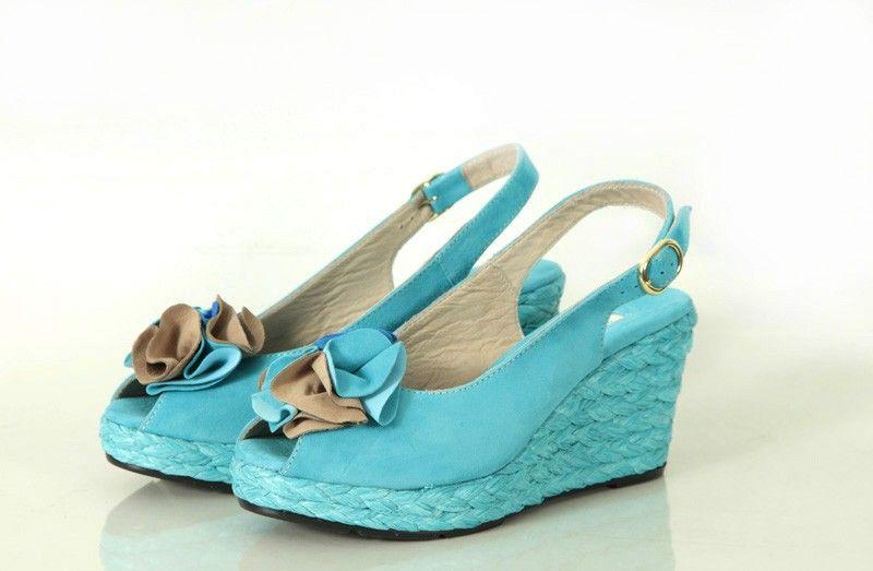 Adorable aqua blue Zamagni woven heel wedges. #shoes #summer #wedges #vintage #style