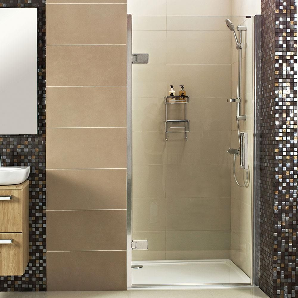 Bi fold shower door will give your bathroom an upscale look bath - A Stunning Frameless Hinged Shower Door For Your Alcove Space Featuring Thick Glass For A Designer Finish