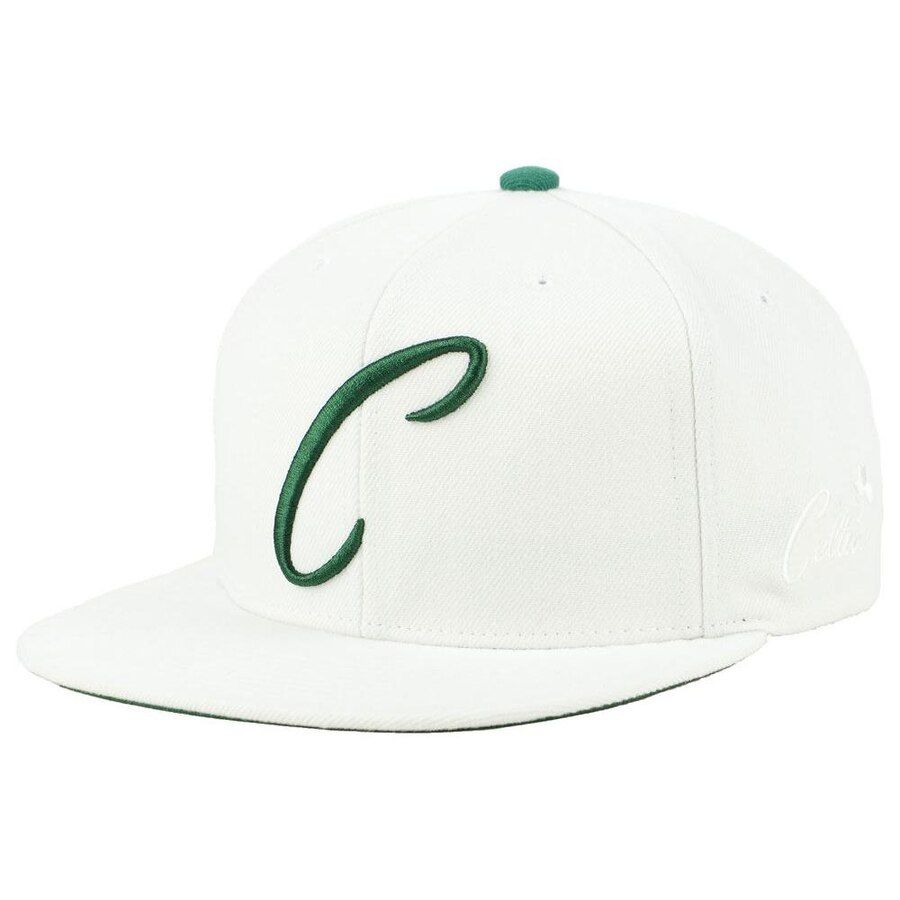 8f4993ab31691 Boston Celtics Mitchell   Ness Hardwood Classics First Letter Snapback  Adjustable Hat - White