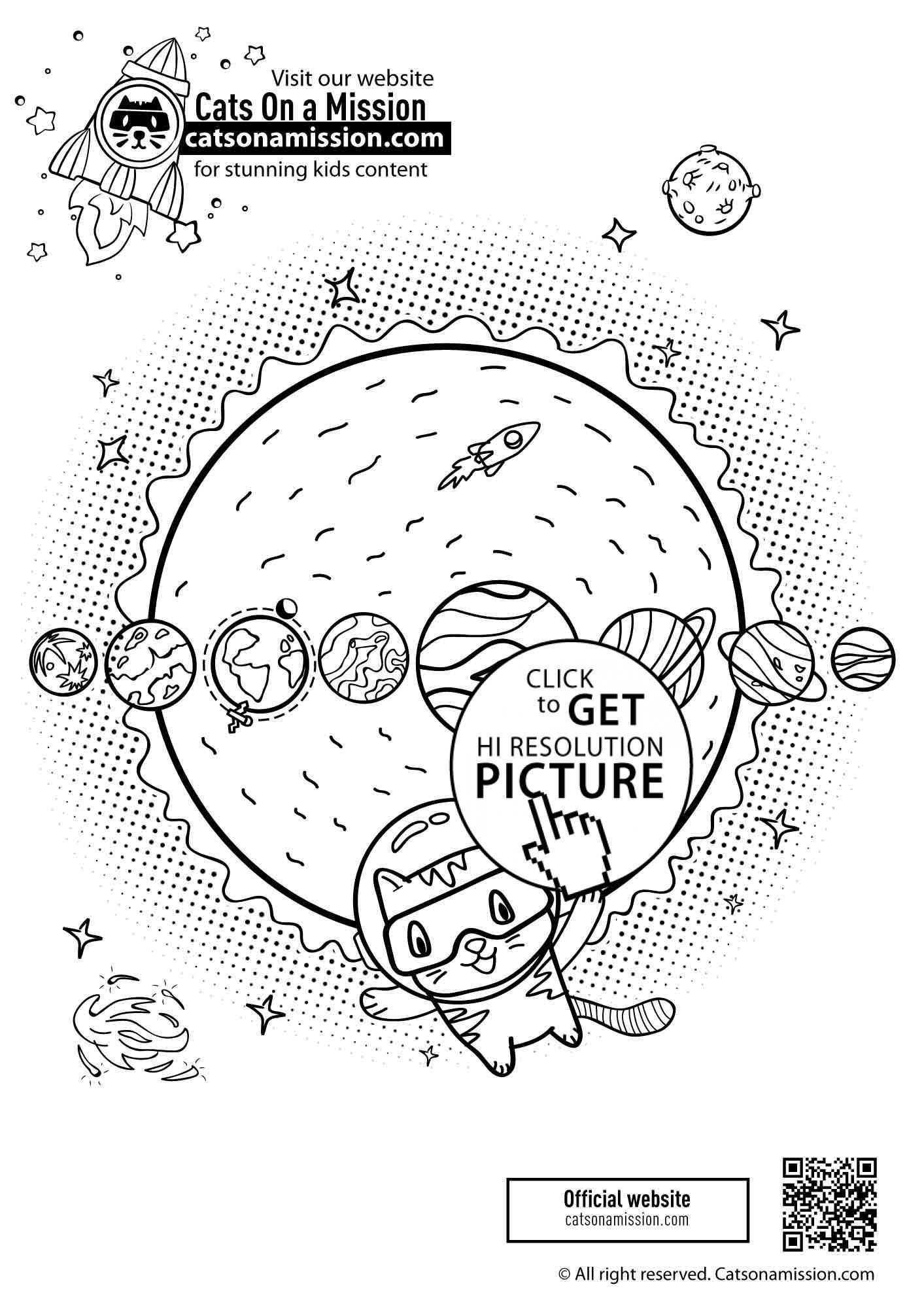 Cat With Planets Space Coloring Pages For Kids Printable Free Cats On A Mission Planet Coloring Pages Space Coloring Pages Coloring Pages [ 2000 x 1413 Pixel ]
