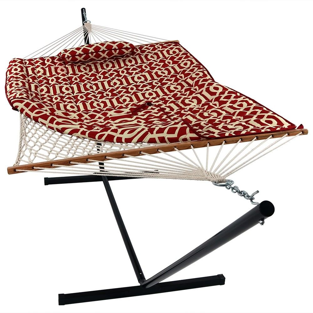 Rope hammock with quilted padpillow and stand royal red