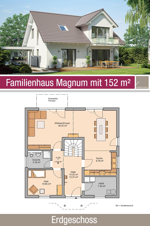Familienhaus – Grundriss – 152 m² – 6 Zimmer – Erdgeschoss
