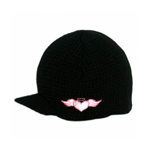 Black Rib Beanie with Pink Embroidery