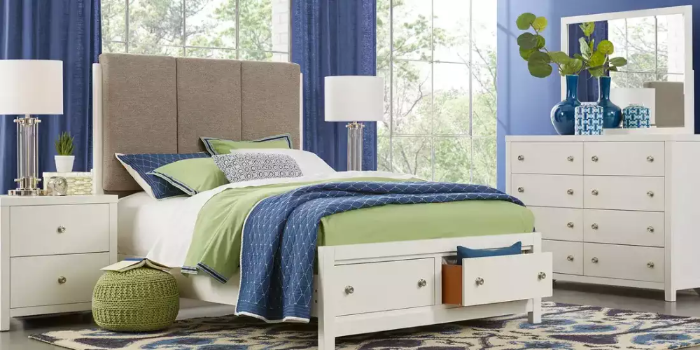 Barringer Place White 6 Pc King Upholstered Bedroom With Storage Upholstered Bedroom Bedroom Panel Upholstered Panels