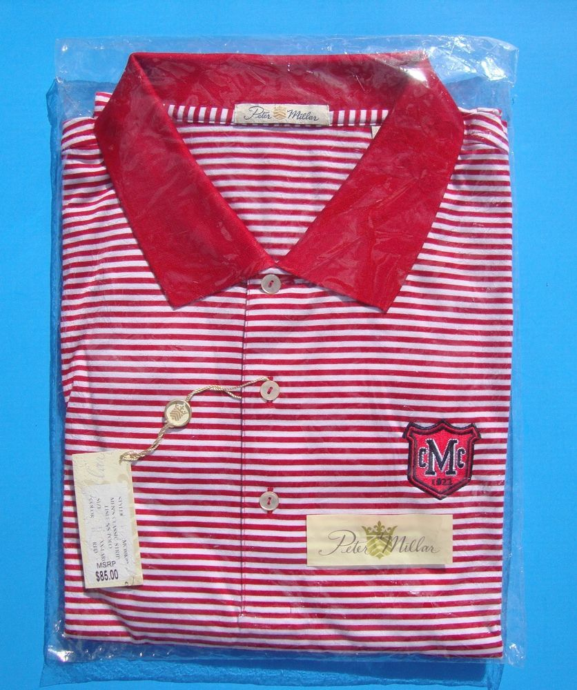 NEW Peter Millar MCC Logo Red/White Striped Golf Polo