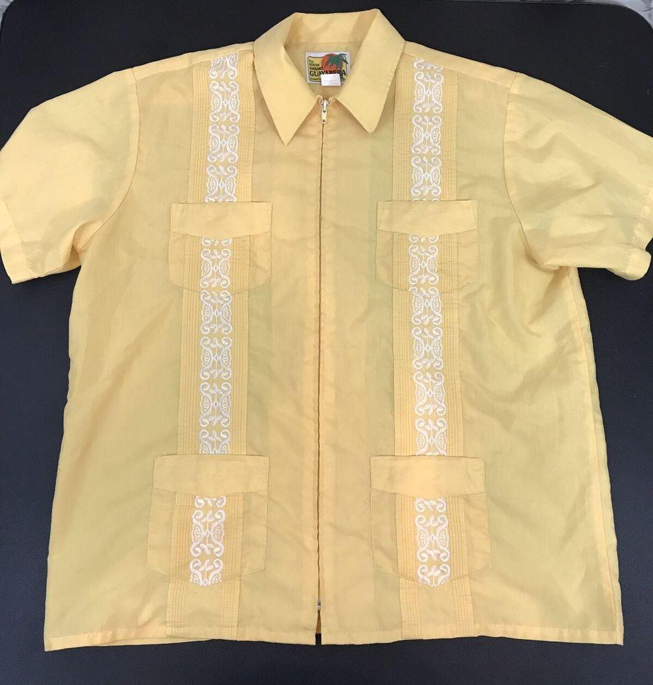 bddd8c05 The Genuine Haband Guayabera Shirt Zipper Front Yellow Cuban Wedding Cigar  Large #Haband #Guayabera