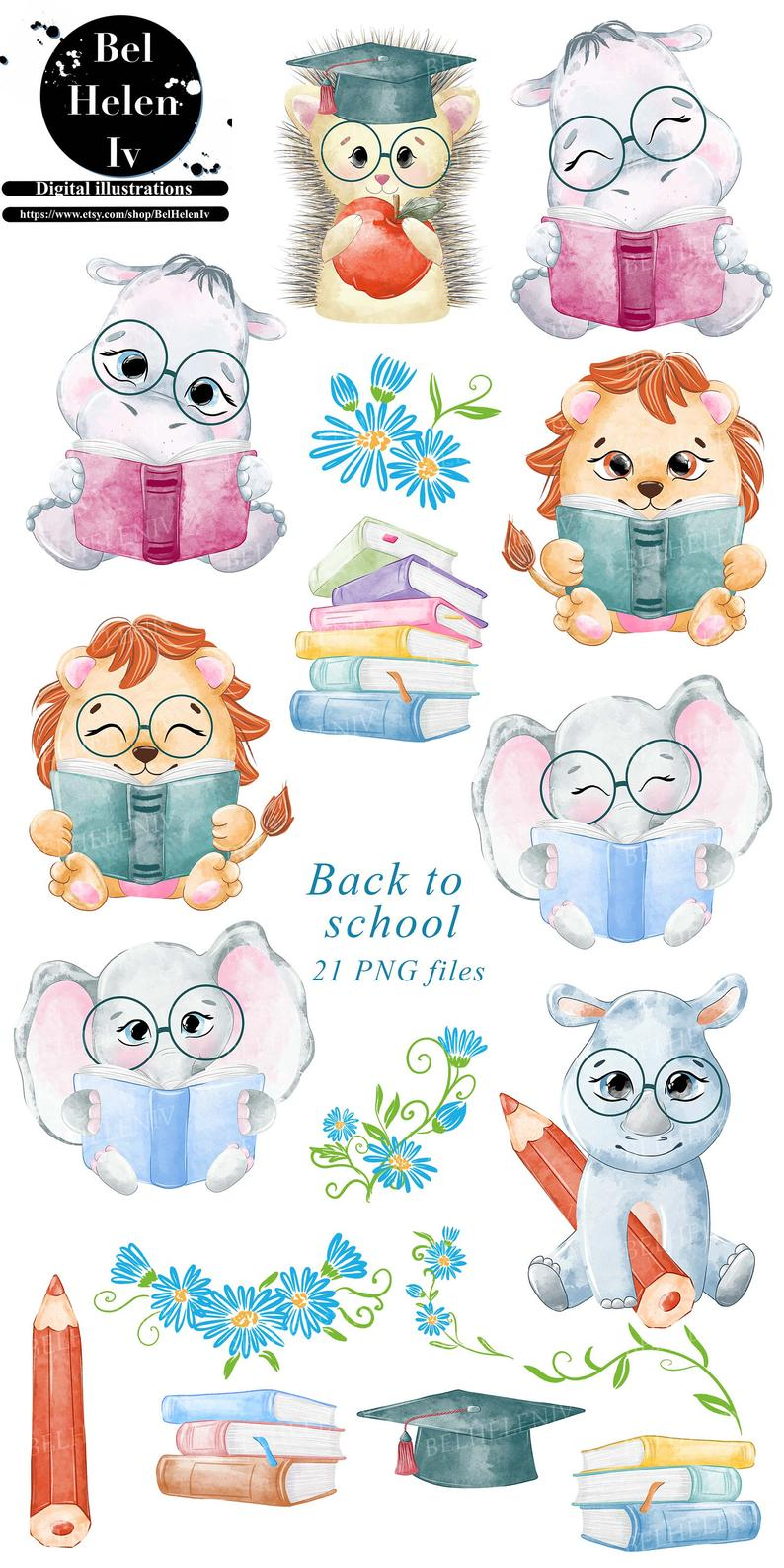 Animals And School School Clipart Teachers Commercial Use Back To School Animals Reading Student Animals With Books Reading Activity In 2021 School Clipart Baby Animal Drawings Clip Art