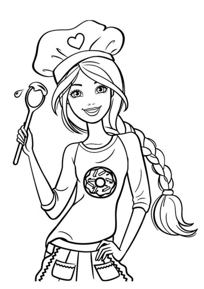 Barbie Cooking - high-quality free coloring from the category: Barbie. More printable pictures ...