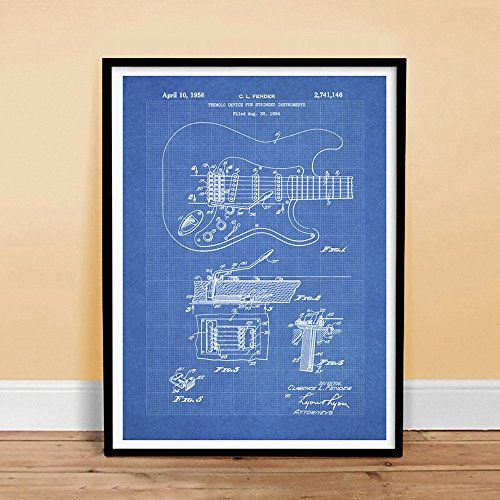 FENDER STRATOCASTER GUITAR POSTER Blueprint 1956 US Patent Print 18x24 Poster Vintage Reproduction Reproduction Gift Steves Poster Store http://www.amazon.com/dp/B00NFSXOIO/ref=cm_sw_r_pi_dp_VE8dub086NGSA