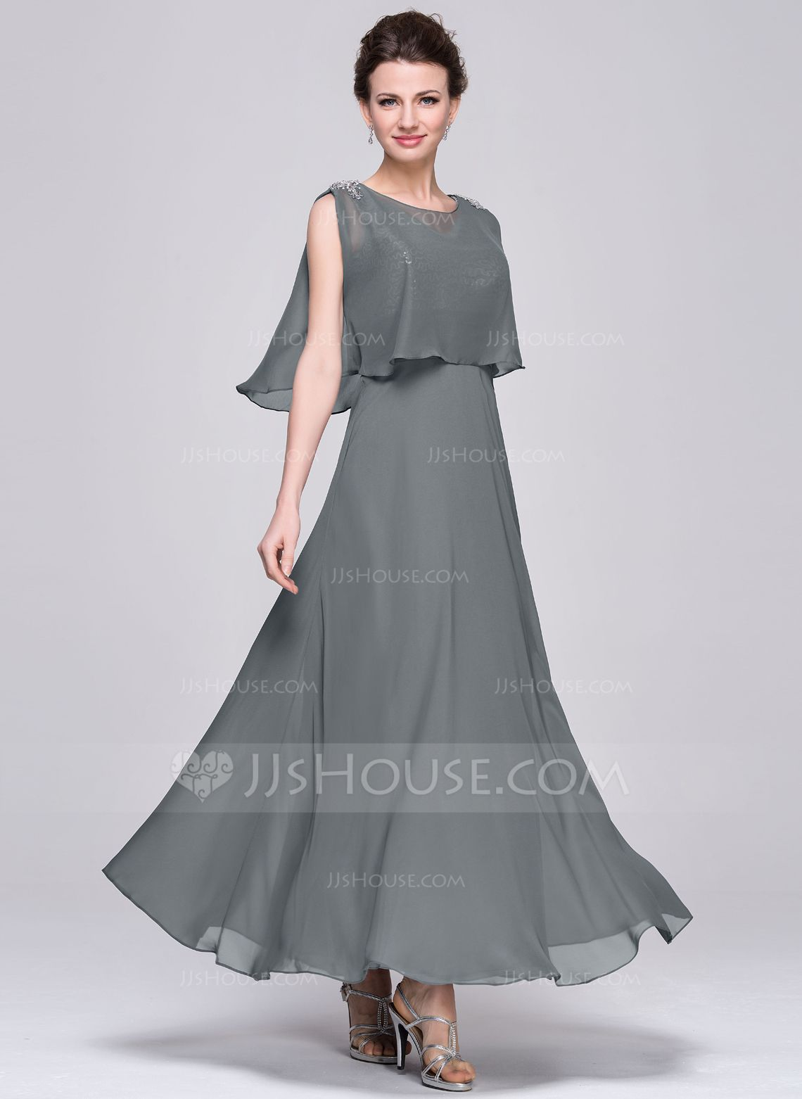 cf283c5f9ee A-Line Princess V-neck Ankle-Length Chiffon Sequined Mother of the Bride  Dress With Ruffle (008058400) - JJsHouse