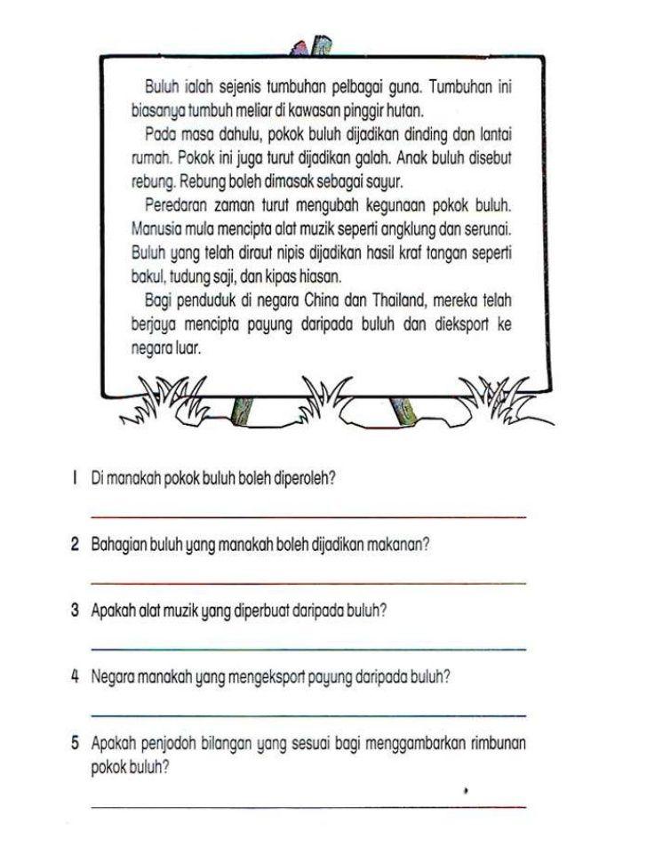 Lembaran Kerja Bahasa Melayu Tahun 2 Malay Language Math Activities Preschool Grammar And Vocabulary