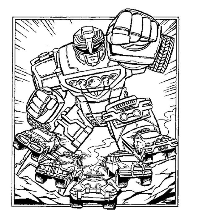 Robot Power Rangers Turbo Coloring Page For Kids