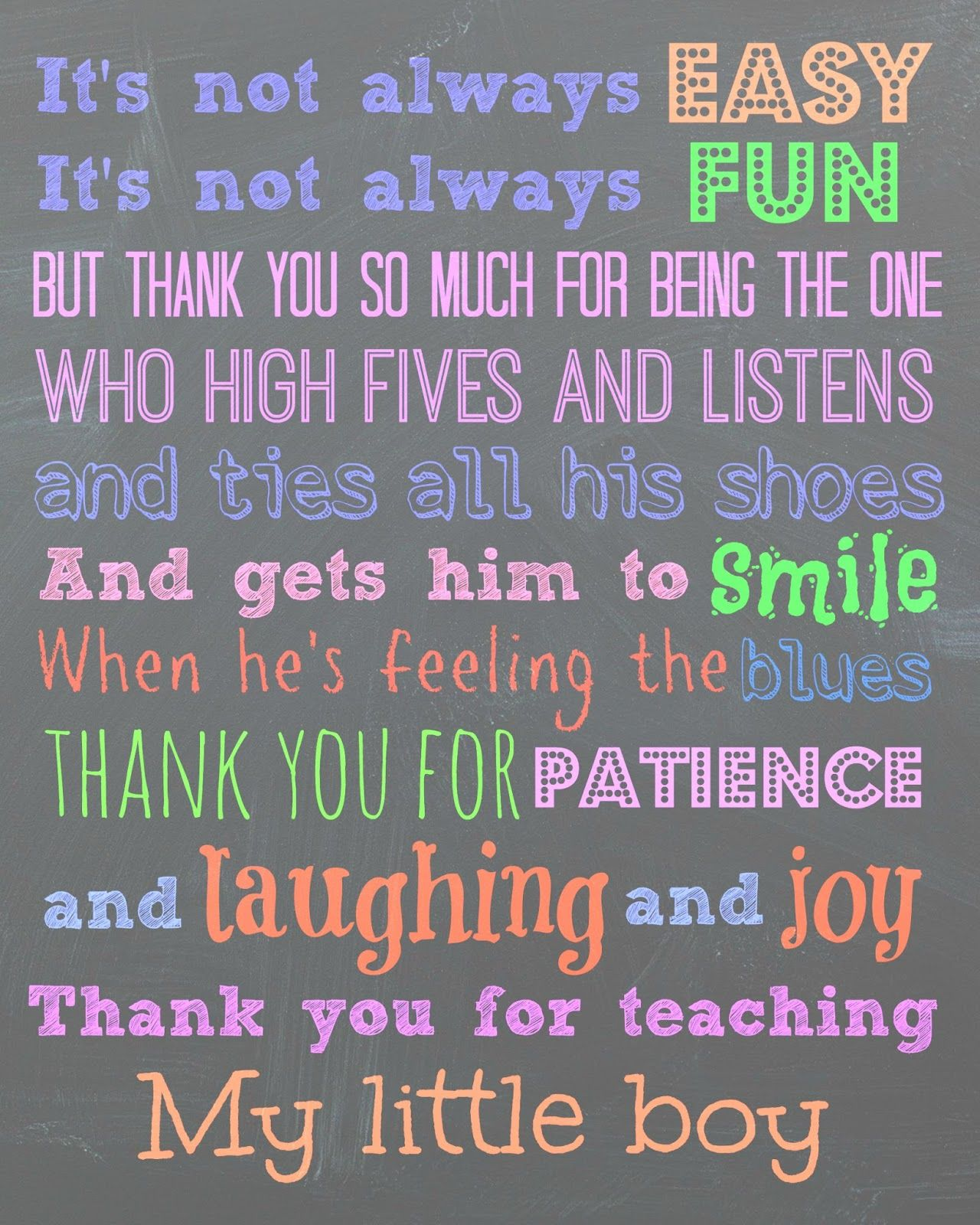 "Free printable for a teacher. ""To my son's teachers, Thank ..."