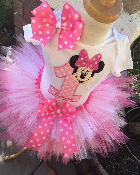 FREE SHIPPING,Pink tutu dress Minnie Pink Birthday tutu outfit birthday tutu outfit,Birthday Girl