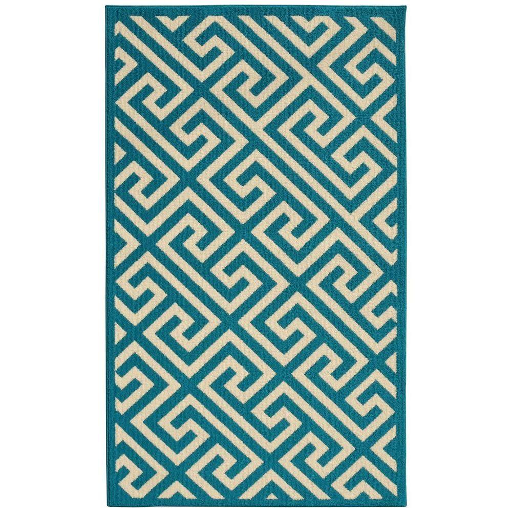 Greek Key Teal/Ivory (Blue/Ivory) 5 ft. x 7 ft. Area Rug