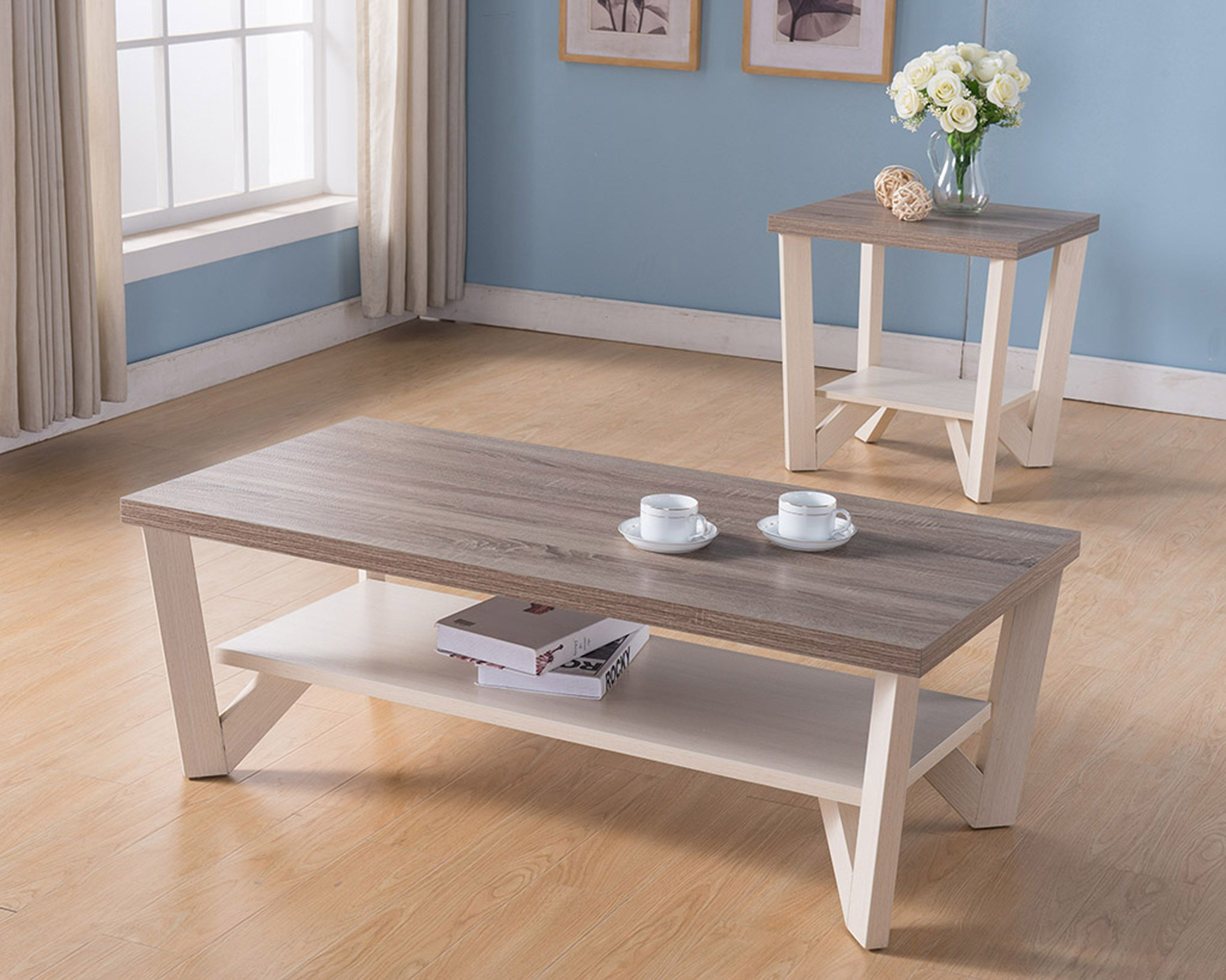 161602ct Et Smart Home Ivory Dark Taupe Coffee Table And End Table Set Features An All Around Two Living Room Table Sets Coffee Table Cheap Living Room Sets
