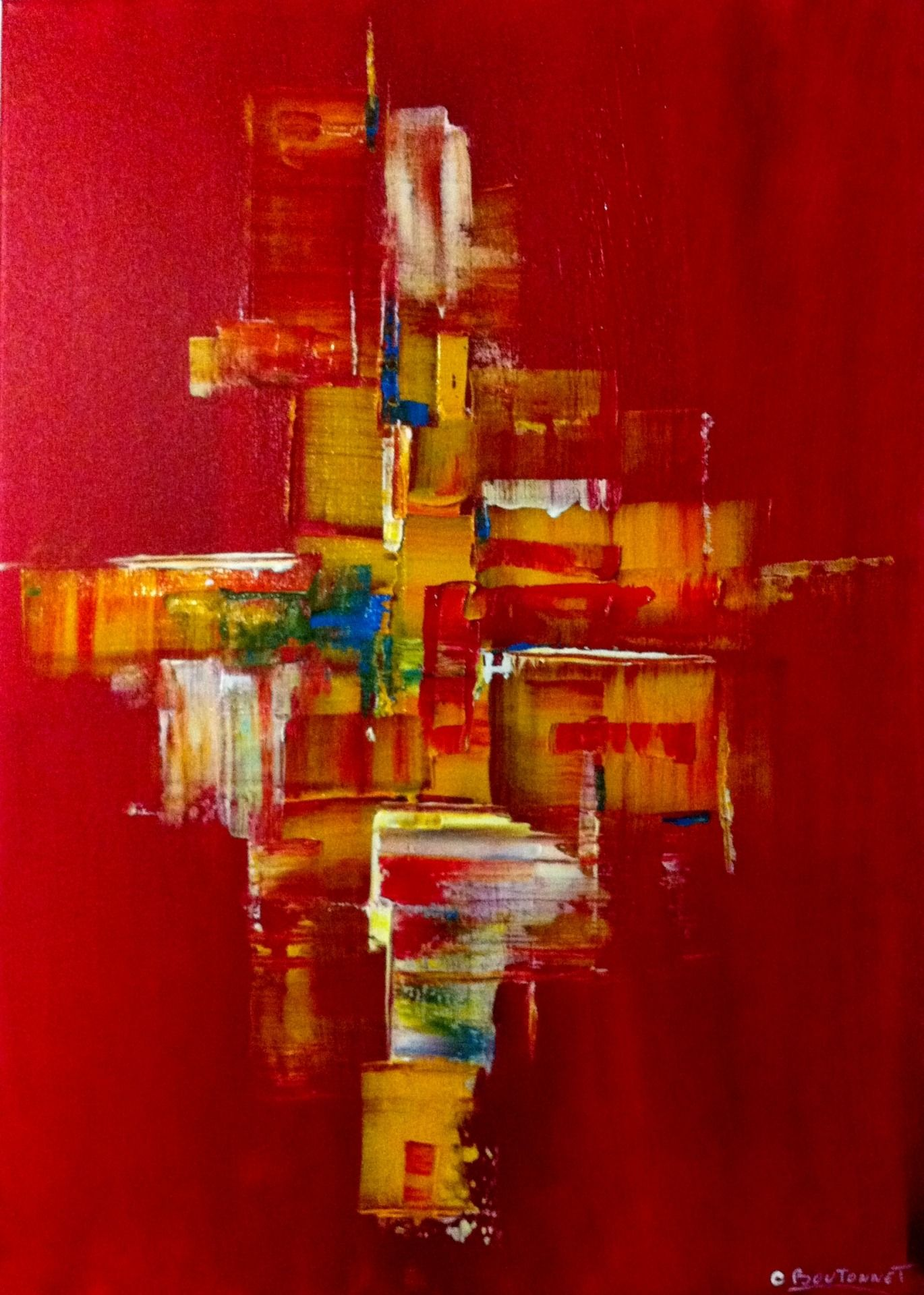 Tableau Peinture Acrylique Abstrait Art Contemporain Toile Jaune