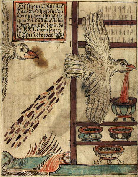 An illustration of Odin, in the shape of an eagle, stealing the Mead of Poetry from Suttunger, from an Icelandic 18th century manuscript. Odin speaks only in poems, and the ability to compose poetry is a gift he grants at his pleasure.