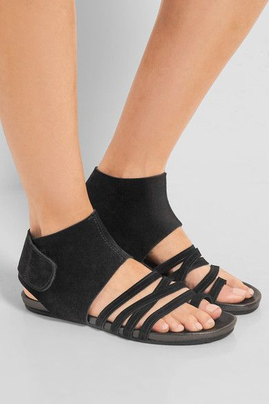 6a93f711700 Sole measures approximately 20mm  1 inch Black suede Velcro®-fastening ankle  strap Made in Spain
