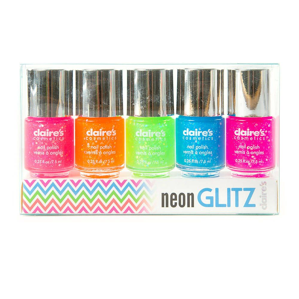 Neon Glitz Nail Polish Set Of 5 Claire S With Images Fashion
