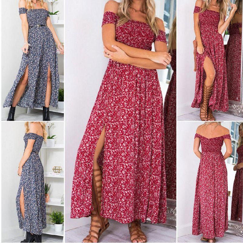 4429703fbe5 Sexy strapless beach summer dress sundresses Vintage tunika maxi dress Boho  floral women split long dress
