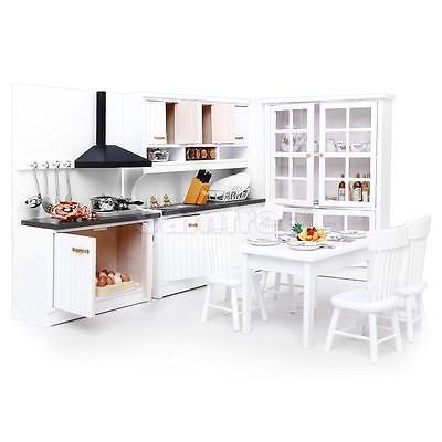 12th Dollhouse Miniature Modern Kitchen Furniture Cabinet Cook Stove Sink White