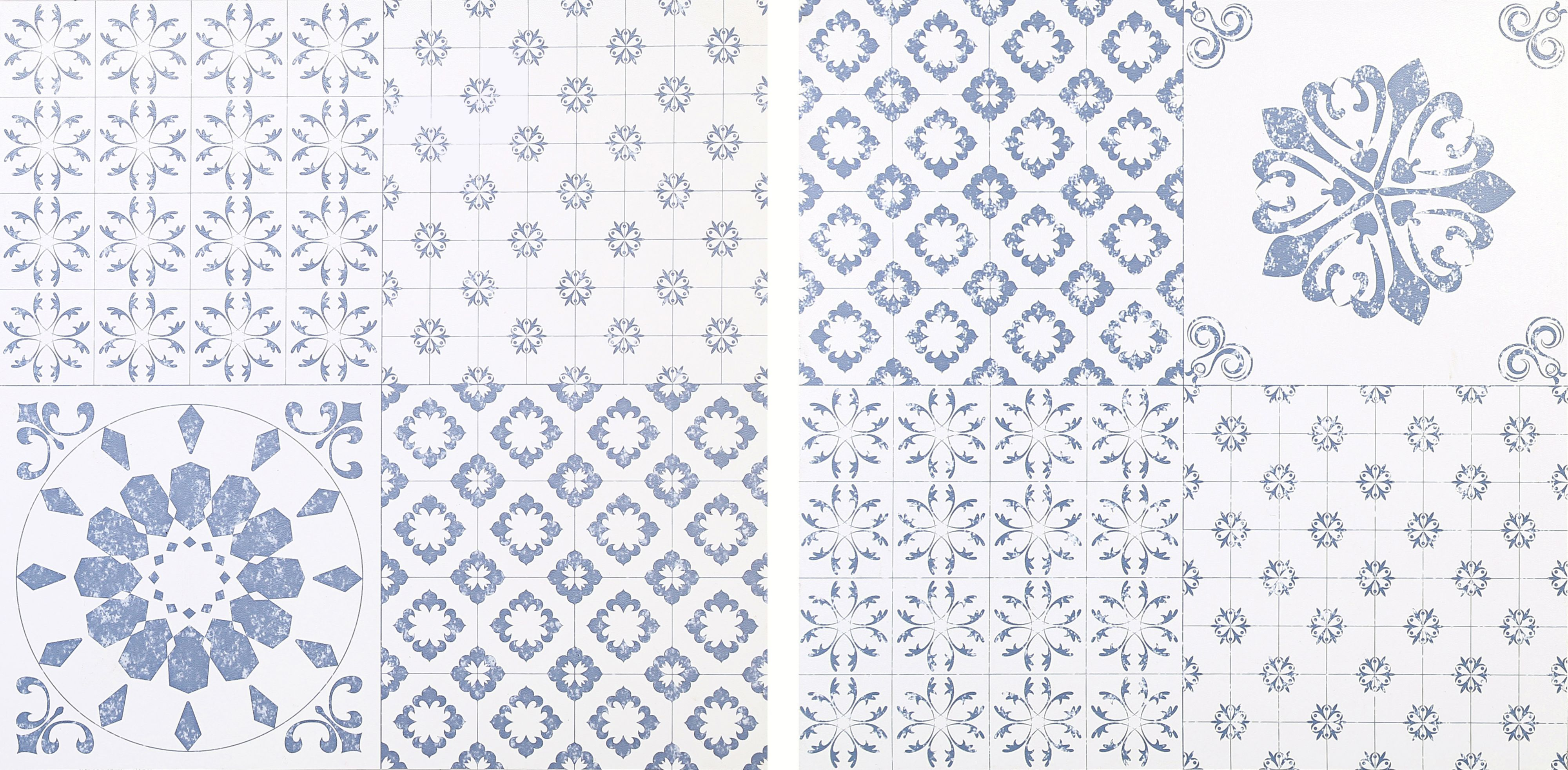 Colours blue white patchwork effect self adhesive vinyl tile pack colours green white patchwork effect self adhesive vinyl tile pack bq for all your home and garden supplies and advice on all the latest diy trends dailygadgetfo Choice Image