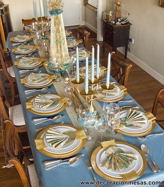 decoracion mesa Navidad en dorado y azul  blue christmas