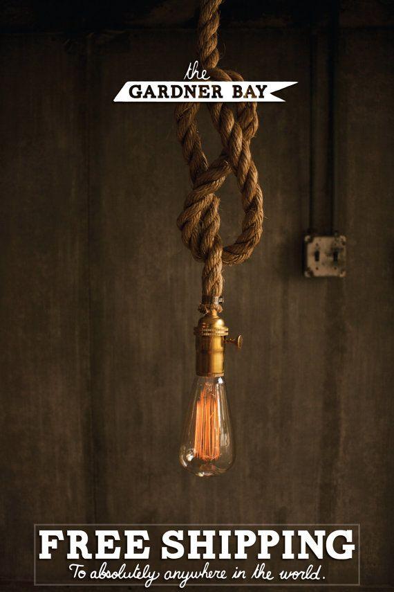 Lampe aus Schiffstau | Wohnen | Pinterest | Kronleuchter ...