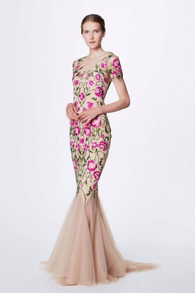NWT Marchesa Notte Short Sleeve Floral Embroidered Evening Gown ...