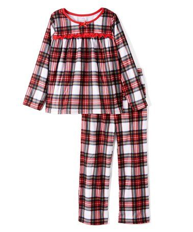 c4012050f Look what I found on  zulily! Red   White Plaid Babydoll Top Pajama ...