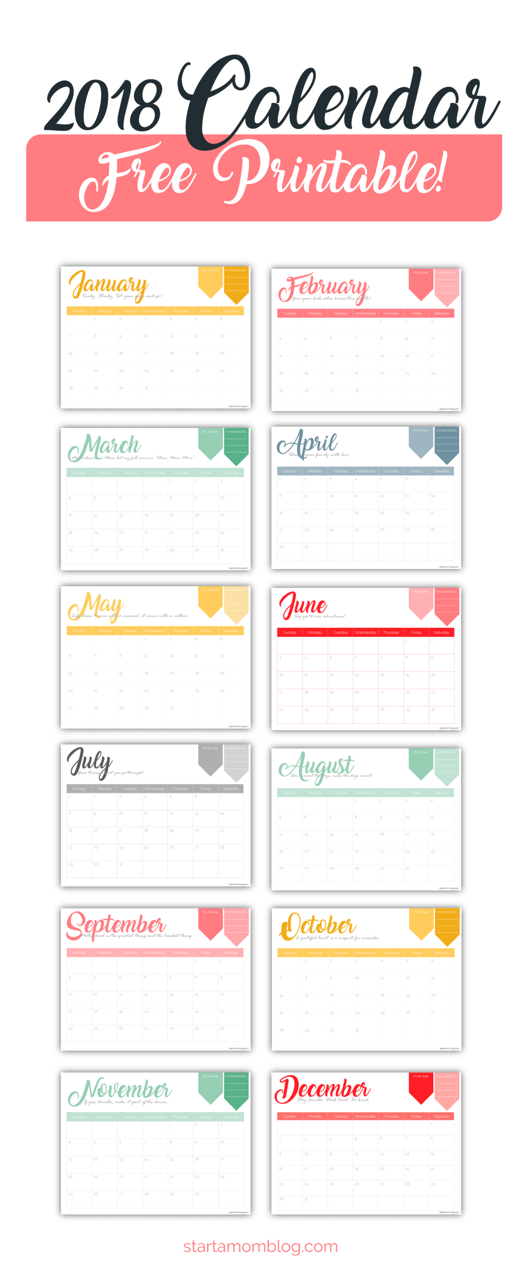 2018 Calendar Inspirational : Free calendar printable with inspirational quotes for